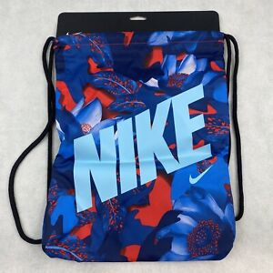 Nike Drawstring Bag Blue Red Floral Backpack Gym Active Sack