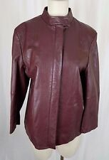 Vintage Fairbrooke Red 100% Lamb Leather Placket Front Moto Jacket Womens 12