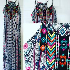 Hippie Hippy Boho Bohemian Ethnic Embroidered Colourful Bright Maxi Dress UK 10