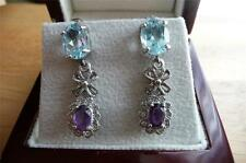 BLUE TOPAZ AND PURPLE AMETHYST 925 STERLING SILVER DROP DANGLE EARRINGS
