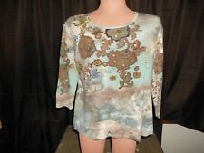 Cassie Rose Womens 3/4 Sleeve Multi-Color Blouse Size Large L      T1