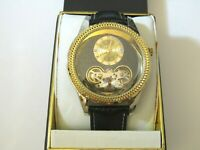 """Elgin Men""""s Gold-tone Dress Watch Second Hand Automatic Leather Band  FG7080"""