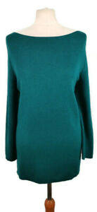 Hobbs Size M 12 14 Teal Green Wide Round Neck Long Sleeve Jumper Autumn