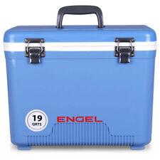 Engel 19 Quart Fishing Bait Dry Box Ice Cooler with Shoulder Strap, Arctic Blue