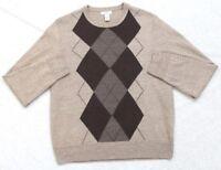 Dockers Crewneck Sweater Long Sleeve Beige Brown Gray Men Acrylic Large Mans Top