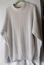 Weekends Cream Ramie/Cotton Blend Heavy Crewneck Sweater - Misses Size Large
