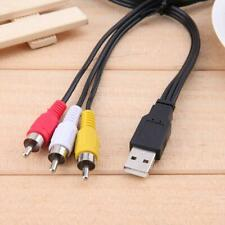 3 RCA to USB Audio Video Data Adapter AV TV Converter Connector Cable Wire Cord
