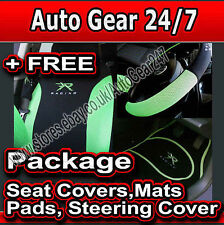 Green Black Racing Car Steering & Seat Covers,Mats,Harness Pads Package + FREE