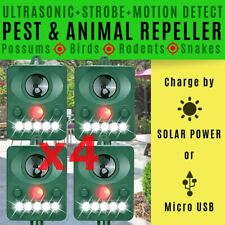 BUY 4x ULTRASONIC PEST REPELLER Possums Rabbits Birds Bat Snake SOLAR POWER USB