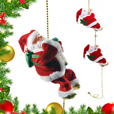 New listing Rope Climbing Santa Claus musical Toys For Christmas Tree Hanging Pendant