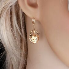 """9ct 9k Yellow """"GOLD FILLED"""" Ladies Girl Lovely Heart Small  Earrings 35mm ,Gift"""""""