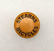 Antique 1890s 1900s Bicycle Stud Celluloid Button Pin STEARNS BICYCLES