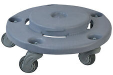 Trash Can Dolly Commercial Wastebasket Wheels Cart Garbage Container, Grey 1 Pc