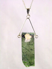 BUTW Raw Polished Green Kyanite Pendant with Quartz Accent Stone & Chain 8703K