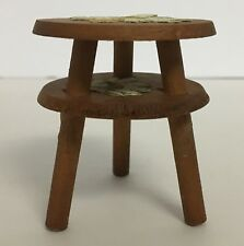 Vintage Dollhouse Miniature Wood Two Tiered Table With Daisy Flower Appliques