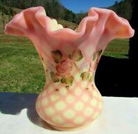 "FENTON Burmese Diamond Optic ""Cascading Roses"" Vase  6.""H x 6.75""W *MINT*"