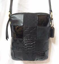 COACH HAMPTONS Black Suede Lurex & Exotic Patchwork Leather Crossbody RARE 12485