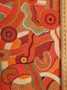 Orange swirls fabric uk 100% cotton material metres aboriginal patterns colours