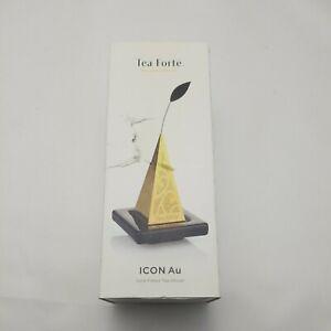 Tea Forte 23k Gold Plated Loose Tea Infuser ICON Au Pyramid Ceramic Base damaged