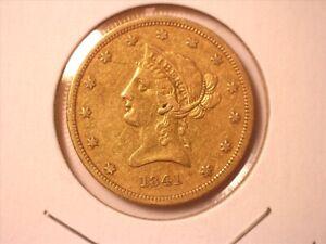 1841-P LIBERTY HEAD $10 GOLD EAGLE - NO MOTTO ABOVE EAGLE #1 - XF+