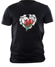 Ripped torn Metal HEART with Welsh Dragon Wales CYMRU Flag mens t-shirt tshirt