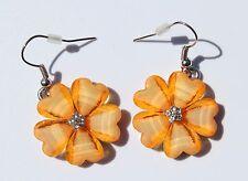 Earring Sparkle Hibiscus Plumeria Heart Flower Dangle Hawaii Luau CZ Yellow