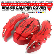 "4x Universal Sport Style Disc Brake Caliper Cover Front & Rear Red 10.5"" LW01"