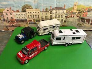 Corgi Jeep , Pick up and caravans die cast and plastic models