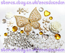 DIY cell phone case bling butterfly gold flower metal cabochon decoden deco kit