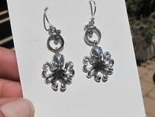 Delicate and Intricate Superb Sterling Silver Octopus Earrings by Som's