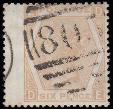 """SG123 1872 6d. Pale buff, plate 12, DE. Figure """"12"""" on left doubled. Exceptio..."""