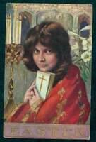 VINTAGE EASTER POSTCARD GIRL HOLDING BIBLE
