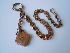 Antike Uhrenkette Uhr Kette Taschenuhrkette mit Anhänger + Granat 21,9 g