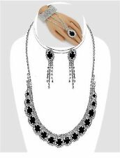 Black Clear Crystal Rhinestone SP Necklace Earring Slave Bracelet Set (3pc Set)