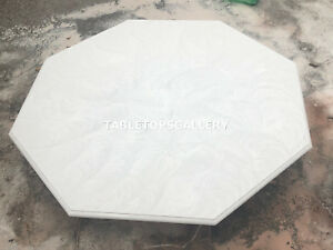 "24"" White Marble Coffee Top Furniture Living Room Table Hand Carved Decor H153"