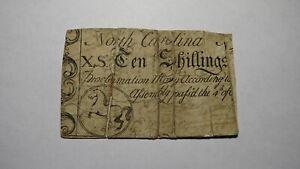1748 Ten Shillings North Carolina NC Colonial Currency Note Bill! RARE 10s