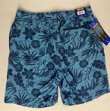 KIRKLAND SIGNATURE Men's Swim Short LARGE Trunks BLUE FLORAL Zip Pocket HAWAIIAN
