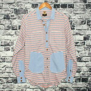 PRPS Men's Button Front Shirt Red Blue Striped Chambray Trim Pockets Size Large