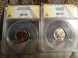 2 1938-d buffalo nickels, rpm-2 ms 65, 1938-d ms 66.