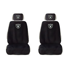 2 New Oakland Raiders Car Truck Front Seat Covers w/ Head Rest Cover Universal