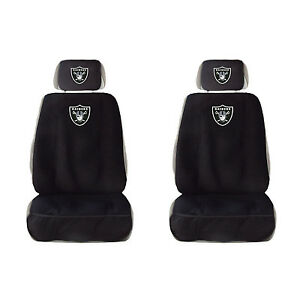 New Raiders Car Truck Front Seat Covers w/ Head Rest Cover Universal pair