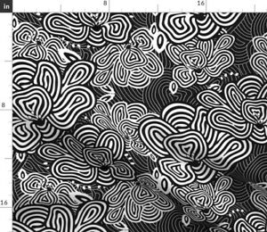 Black And White Black White Flowers Stripes Bold Spoonflower Fabric by the Yard