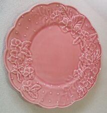 "Beautiful 10"" Bordallo Pinheiro Ingrid Pink Embossed Pottery Dinner Plates set 2"
