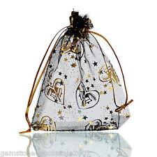 W09 25PCs 9.5cm x11.5cm Heart Organza Gift Bags Wedding/Christmas Favor