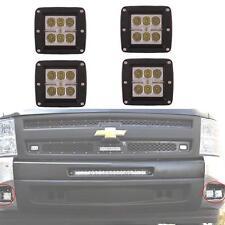4PCS LED Flood Bumper Pods Fog Light Kit for 2007-2013 Chevrolet 1500/2500/3500