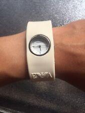 Emporio Armani White Rubber Belt Lady 50m Steel Analog Quartz Wrist Watch