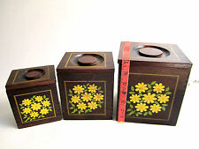 3 VTG Imperial International Japan Hand Carved Wood Boxes Nesting Canisters