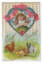 Vintage Easter Greetings PC, Girl Watching Rabbits With Basket of Colored Eggs