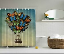 Hot Air Balloon Shower Curtain Set Fabric Non Vinyl Tub Stall Liner Butterflies