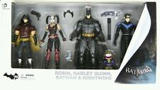 DC Batman Arkham City Harley Quinn, Batman, Nightwing & Robin Action Figure 4-PK